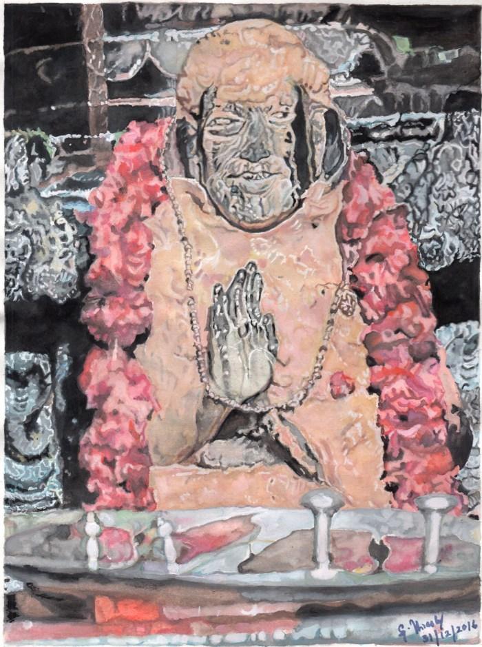 63 Mahaperiyava in Brindavan Santhanakappu with Padukai 31122016.jpeg