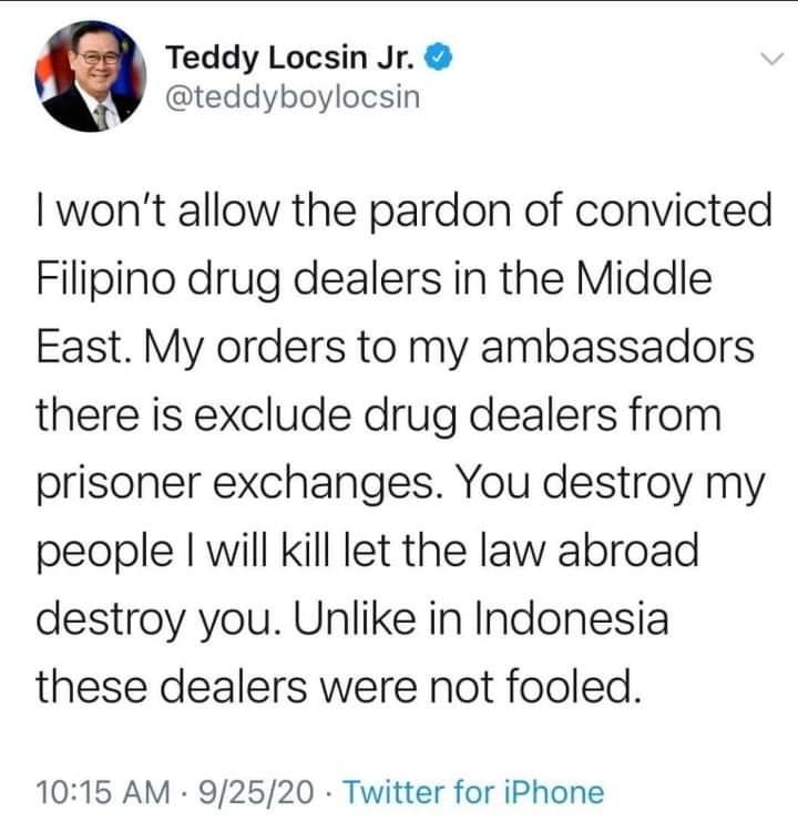 Locsin to PH drug dealers in Middle East: 'Sorry, no mercy'