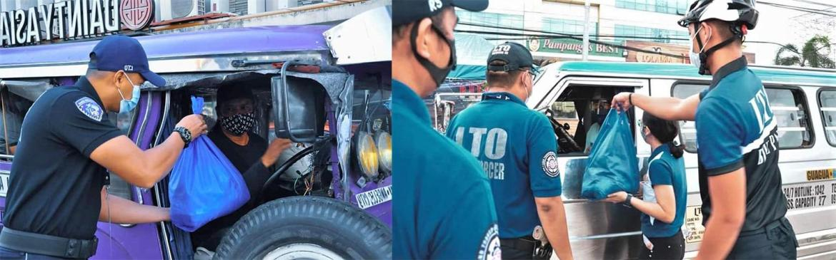 LTO 3 flags PUJ drivers down to give them groceries