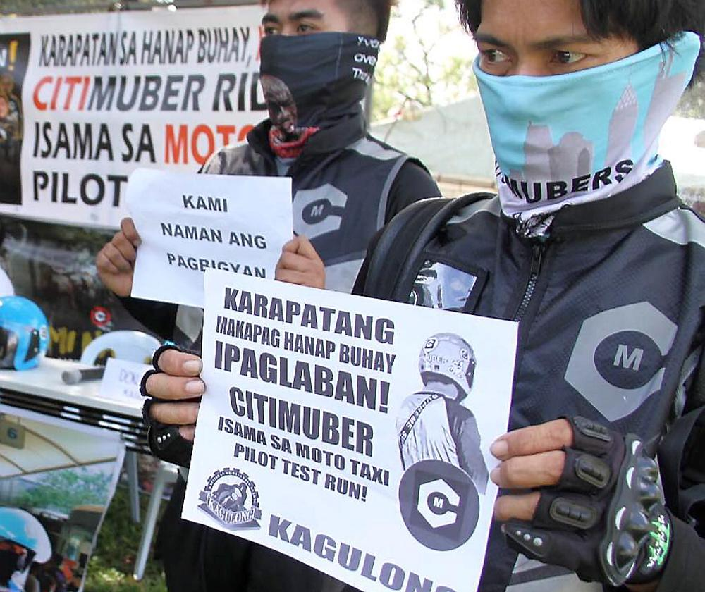 Motorcycle-riding app riders appeal to gov't