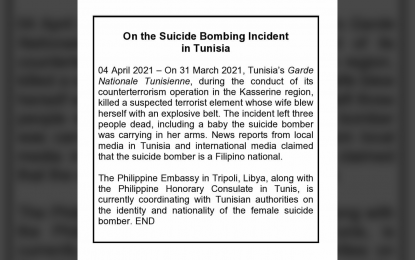 PH Embassy probes claim Tunisia suicide bomber was Filipina