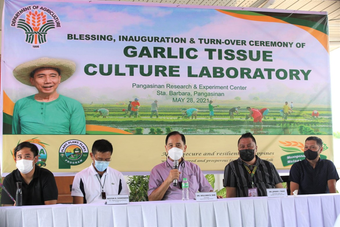 DA inaugurates garlic tissue culture, virus indexing labs and crops research dev't center in Pangasinan