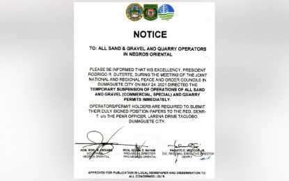 PRRD orders temporary suspension of quarry ops in NegOr