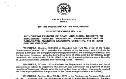 PRRD authorizes payment of death benefits to IP reps in barangays