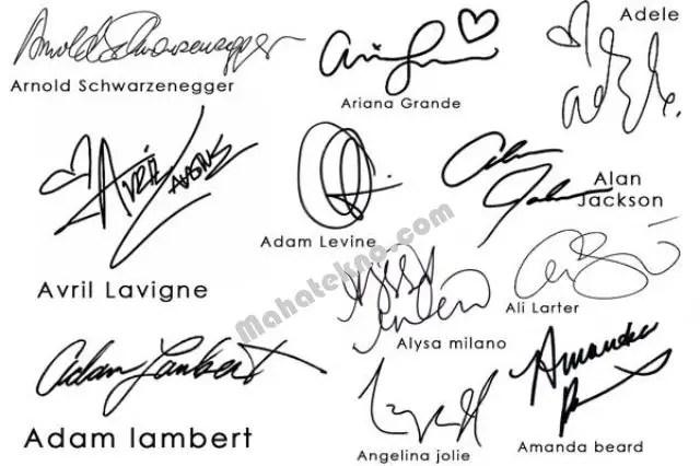 contoh tanda tangan huruf a