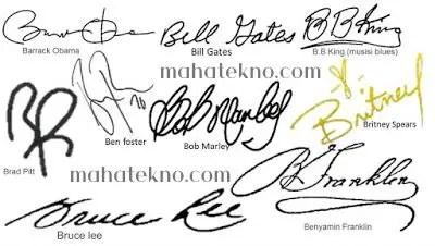 tanda tangan huruf b