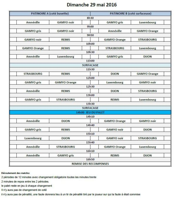 Tournoi BAUER 2016 planning