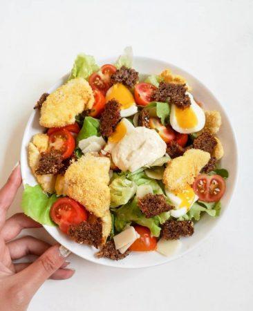 Salade César Allégée Poulet Croustillant Croûtons Complets Sauce Light Recette Ma Healthy Tendency
