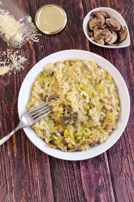 Risotto aux Poireaux, Champignons & Parmesan - Recette Mahealthytendency.com