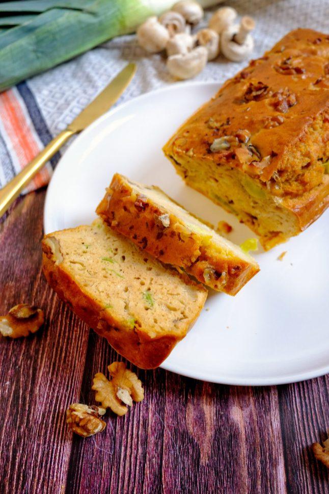 cake recette poireau champignons