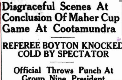 Report from the Boorowa News of the Cootamundra v Young match of 12 June 1954