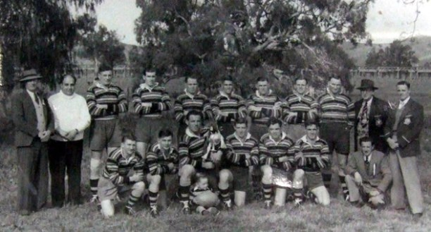 Norm Bounader in white jumper the great Gundagai side of 1952