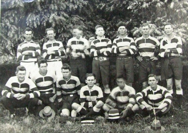 Gundagai Rovers 1922 ; back row -Henry Manning, Alan Rolles, Jack Brooke, Jack Webb, Les Smith, Perce Smith, Harry Hourn ; front row - George Wheatley, Roy Field, Alan Field, Claude Smith, Joe McGuire, J. McInerney