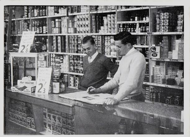 Keith Turner and Steve Elphick hard at work at Stribleys department store. Stribleys store, Gundagai. Source: Bernadette Turner via Lost Gundagai on Facebook.