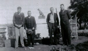 Jim Keys, J. Clarke, J. Ryan, Ted O'Kane at the Dog on the Tuckerbox, 1946. Source: Remember When: 75 Years, a collection of memories of people who lived at Kikoira and Gibsonvale.
