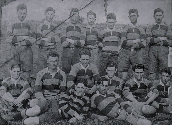 Jack Watson standing second from left in Cootamundra Junior Rugby League team on 1921. Eric Weissel is the man crouching.