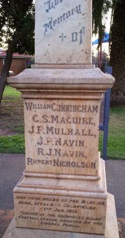 The monument in memory of the Barrier miners in Barnado's Park, West Wyalong.