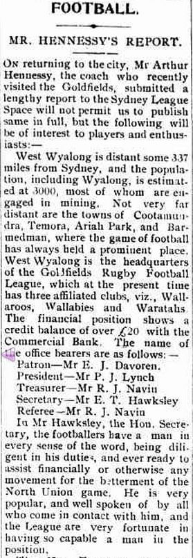 Report in the Wyalong Advocate 1 July 1911