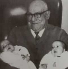 Bert Graham with his twin grand-daughters