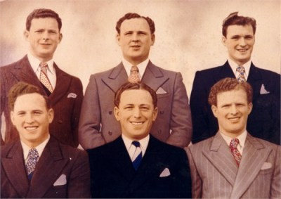 The six Lynch brothers. 'Orphaned' when the eldest Alan 'Snowy' was just 19 they grew up as a close knit family; from back left: Cecil, Cal, Keith, front: Gerald, 'Snowy' and Gordon 'Ginger'