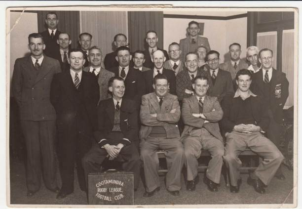 A proud committee in 1947: Seated from left: Harold Fuller, Harry Pinkstone, Fred Smith, Bob Hobbs. Standing: --- , --- , Austie Fuller, Phil Moses (in black suit next to Harold Fuller), --- , Ray Ward, Harry Whitton (as the back), Tiny Roberts, Gordon Smith? , .....