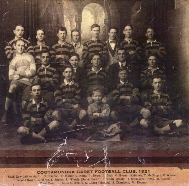 Cootamundra Cadets team of 1921 which included Eric Weissel; from left to right from back row: S. Drennan, T.Maher, C.Kelly, Tom Ryan, L.Deal, Glenn Evans (referee), Tom McGuigan, Eric Weissel (aged 18), L.Ryan, Jack Sissian, S.Whealy (secretary & treasurer), F.Smith (captain), J.Maffersoni (president), R.Cohen, P.Mills, S.O'Neill, K.Cohen (mascot), Sid Chambers, Mick Rooney. Source: S.G. Chambers, Cootamundra.