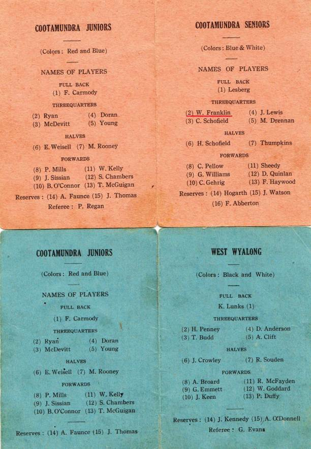 Team for the Cootamundra Juniors vs Seniors match on 13 August 1922 and Juniors vs West Wyalong Juniors on 27 August 1922. Both matches were played at the Cootamundra West Ground.
