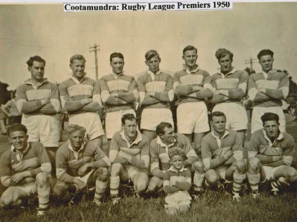 1950 Cootamundra won some early Maher Cup games but had to settle for being Group 9 premiers: Back from left - John Gleeson, Tony Howse, Kevin Chuck, Lionel Wheatley, Mick Howse, Neil McDonnell, Jack 'Junior' Henniker: Front - Russell Cohen, Vern Taylor, Roley McDonnell, Jim Crowe, Kevin Wheatley, Ian Read, with 'Digger' Fuller ballboy.