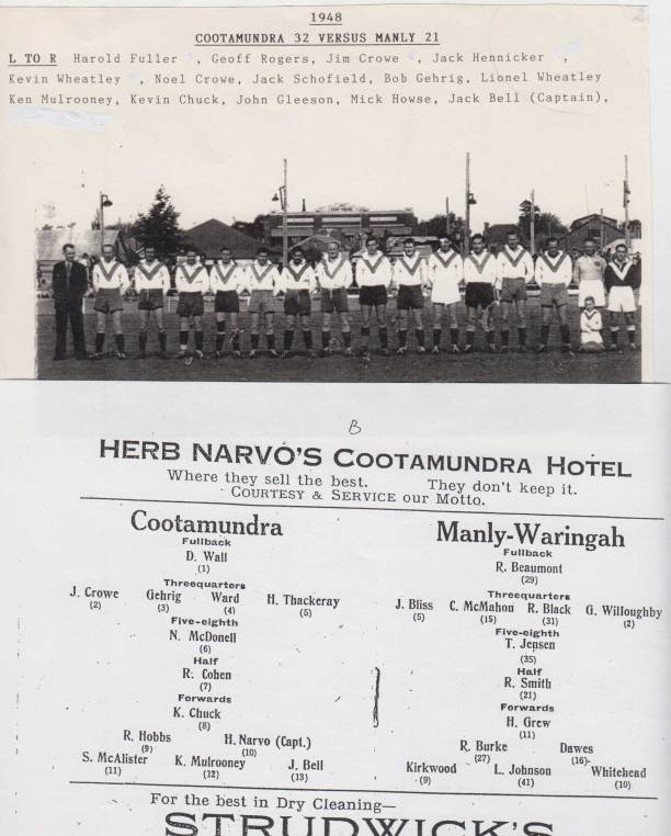 In 1948 Cootamundra held the Maher Cup for most of the year - and topped it off by thrashing Manly.