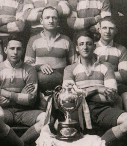Phil Regan (top left) lead the undefeated Maher Cup team in 1923. Others in shot are Ray Sheedy, Eric Weissel and Curtis 'Dick' Pellow. Source: Wal Galvin collection