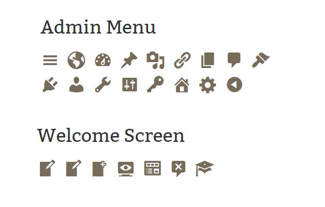 Dashicons icon icon font list for the WordPress admin Dashboard