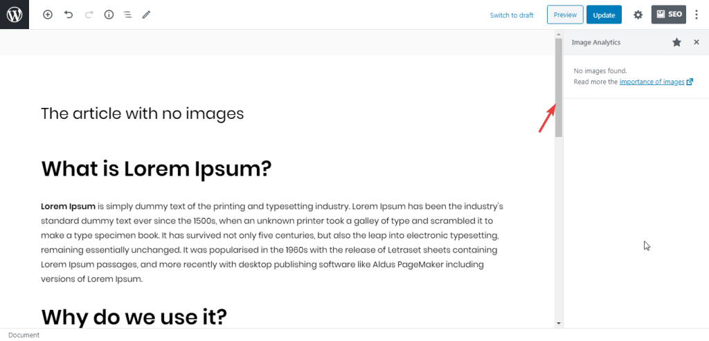 The article without images by WordPress plugin Image SEO