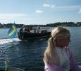 I Gottskär mötttes vi av båtar och massa människor på kajen, härligt!