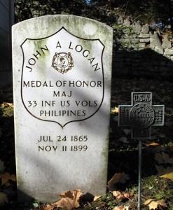Major John A. Logan Jr.'s grave at Oak Hill Cemetery, Youngstown