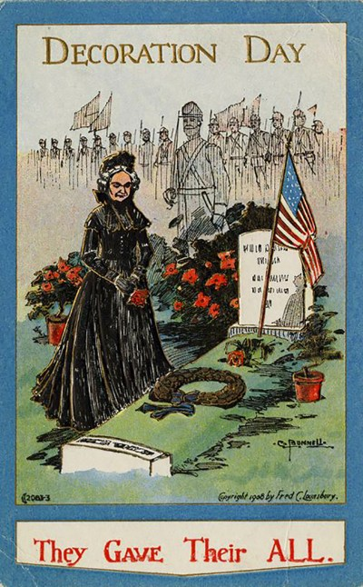 Decoration Day postcard depicting a woman in mourning clothes at the grave of a Civil War soldier, 1908; courtesy Warshaw Collection of Business Americana - Civil War, Archives Center, Courtesy National Museum of American History.