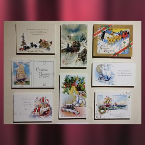 Many postcards featured travel motifs, such as these with ships and carriages.