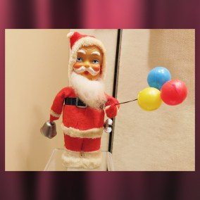 Wind-up Santa Claus and plastic figurine, 1950s  <br><br>Gift of Beverly McKinley, 2011.101.05; Alice Resch Powers, 87.12.4