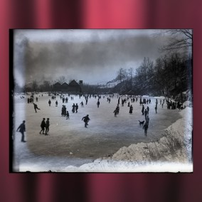 Ice skating on Lake Glacier at Mill Creek Park, c. 1910. During the winter months, the ice house in the background was used to harvest blocks of ice from a pond fed by Mill Creek. Original photograph by John D. Megown. <br><br>Gift of Tom Molocea, 2007.78.258