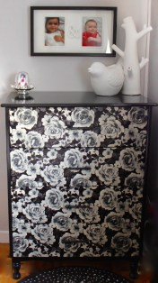 Dresser covered with shelf-liner