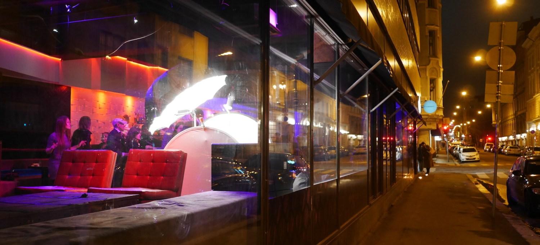 Designdistrict bei Nacht
