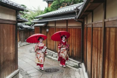 Japanese wearing a kimono in Tokyo