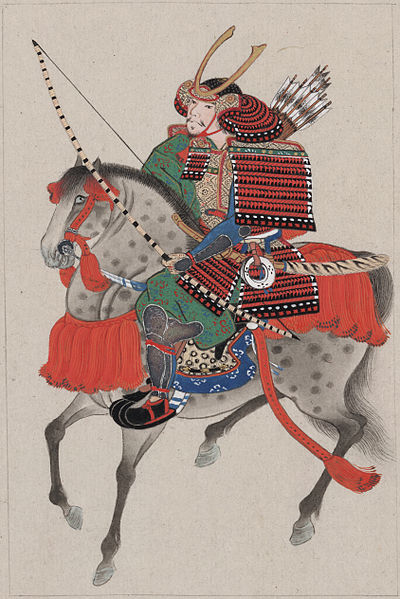 Samurai on horseback, wearing armor and horned helmet, carrying bow and arrows. circa 1878 or earlier