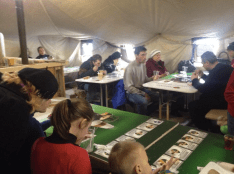 Refugees in the dining room
