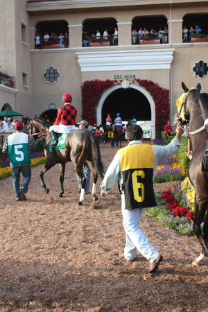Jockey Joe Talamo aboard #5 Prophetise heads through the Del Mar tunnel onto the racetrack