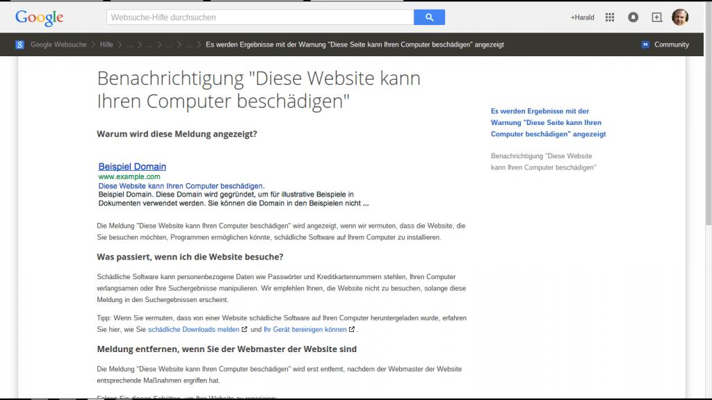 Google Schädliche Websites