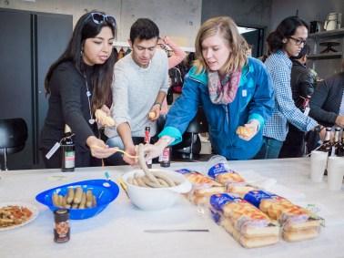 2016 Summer Semester students enjoying Bratwurst and Brot.