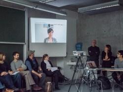 Ms. Alexandra Klobuk explaining her class on Visual Storytelling with a short video presentation