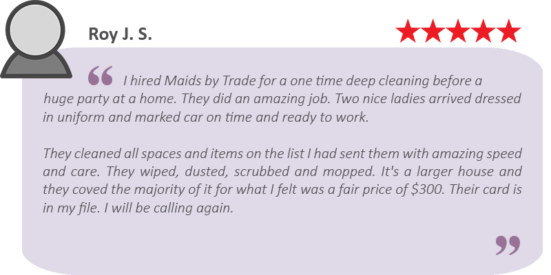 Great house cleaning review by Roy