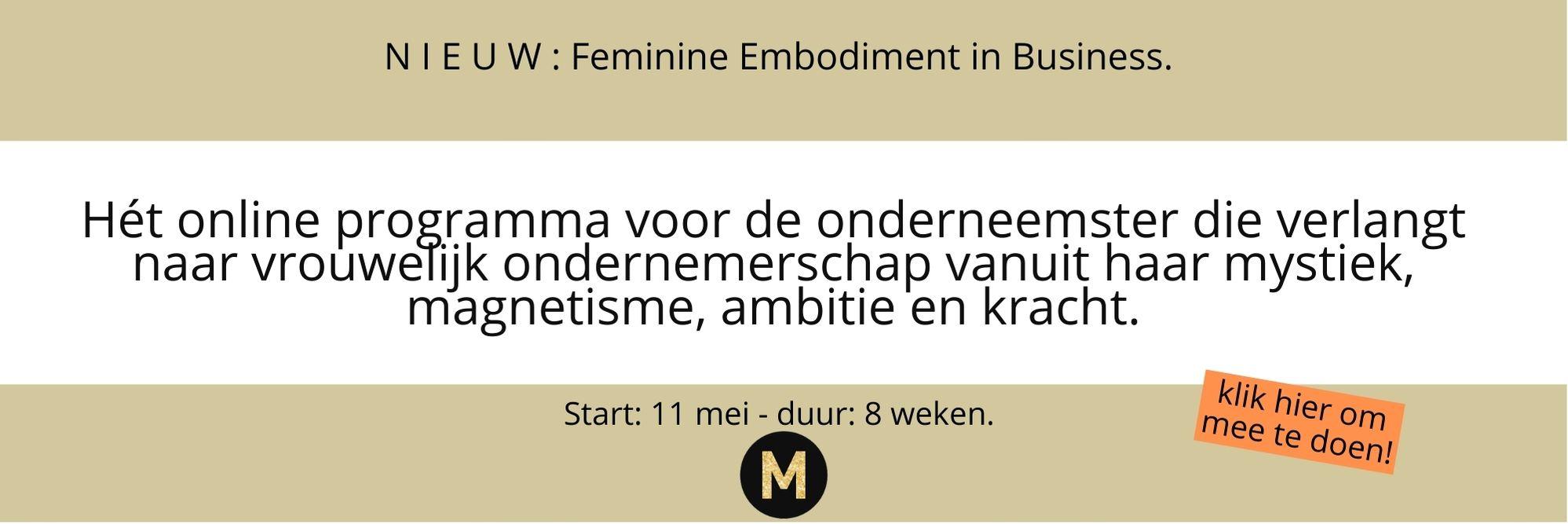 Feminine embodiment in business programma Maike