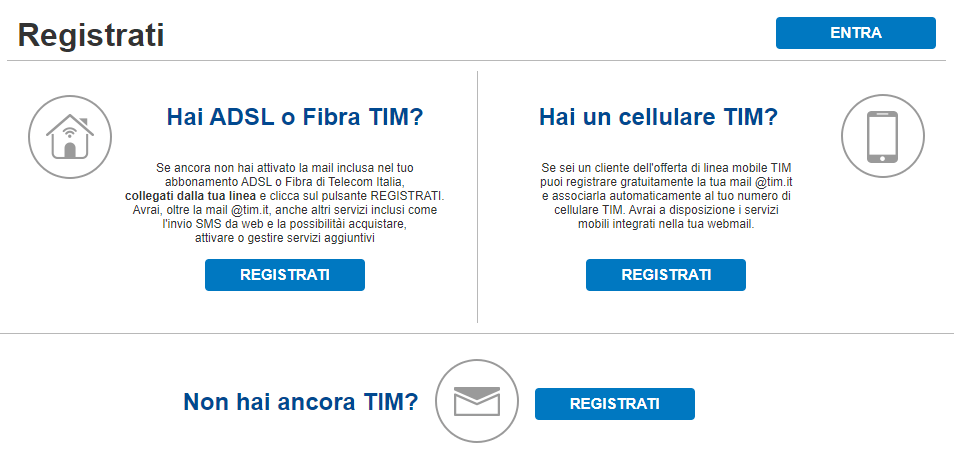 Tim Mail Registrazione